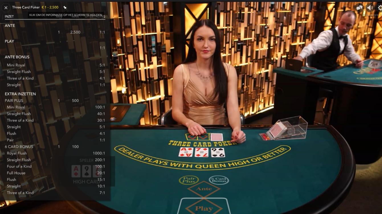 live 3 card poker uitbetalingen