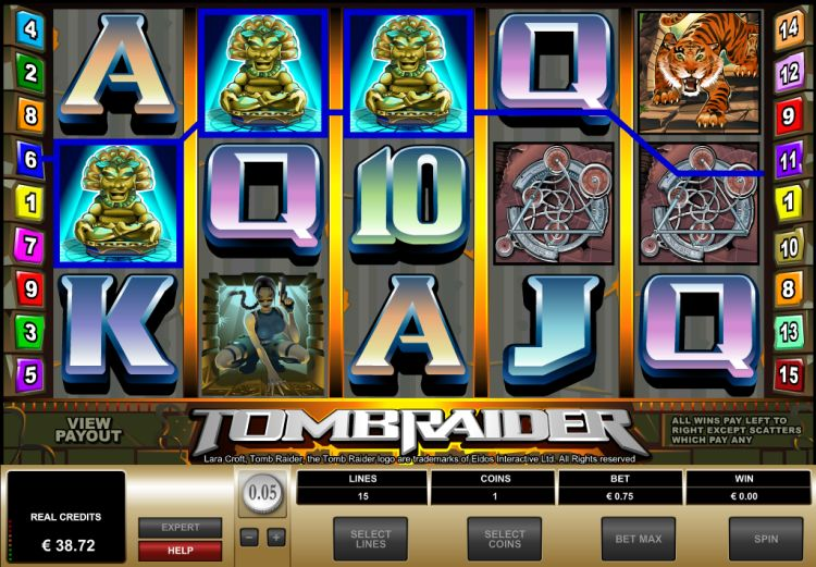 Lara Croft Tombraider bonus game trigger