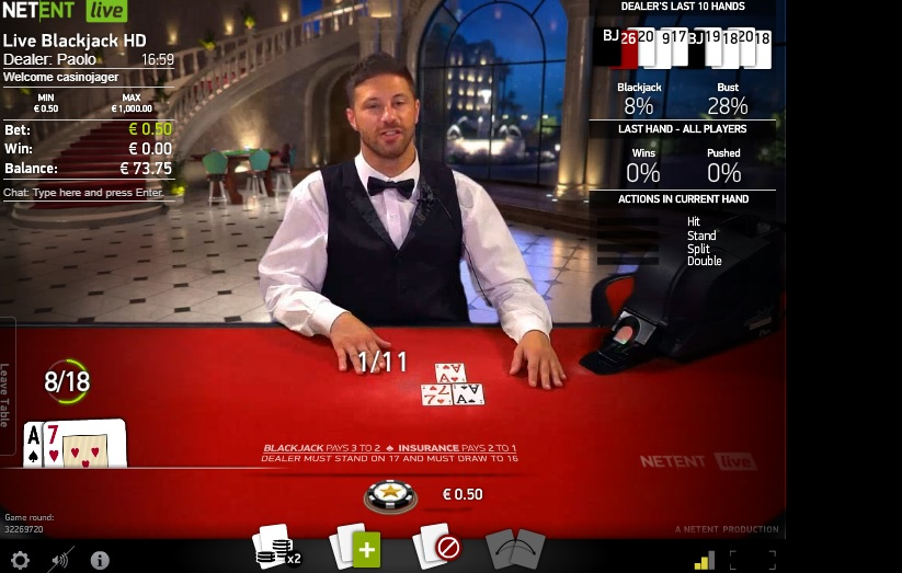 NetEnt Live Common Draw Blackjack