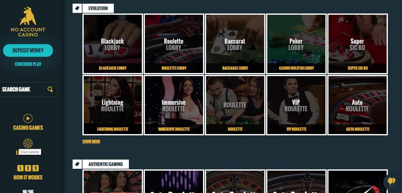 no account casino online