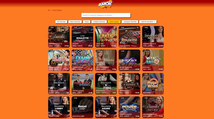 Amok Casino review live casino